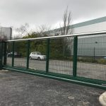 Green Automated Steel And Mesh Panel Gate