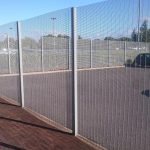 Grey Mesh Panel Fencing Around A Carpark