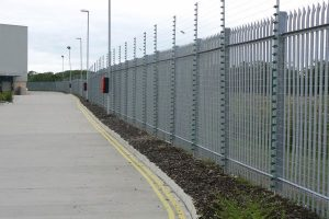 Grey Mesh Panel Fencing With Electric Wire