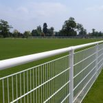 White Steel Spectator Fencing Around Football Pitch